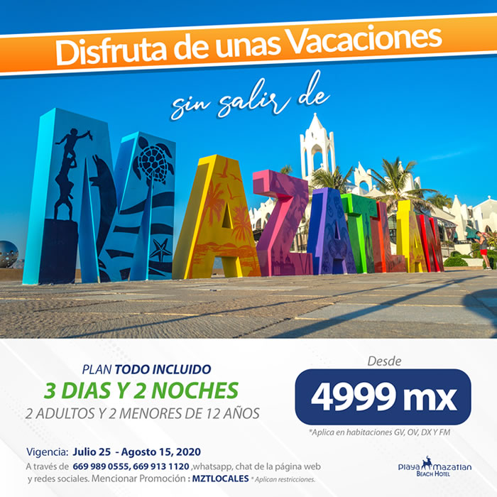 Aprovecha paquete de 3 días y 2 noches en Plan Todo Incluido en Hotel Playa Mazatlán