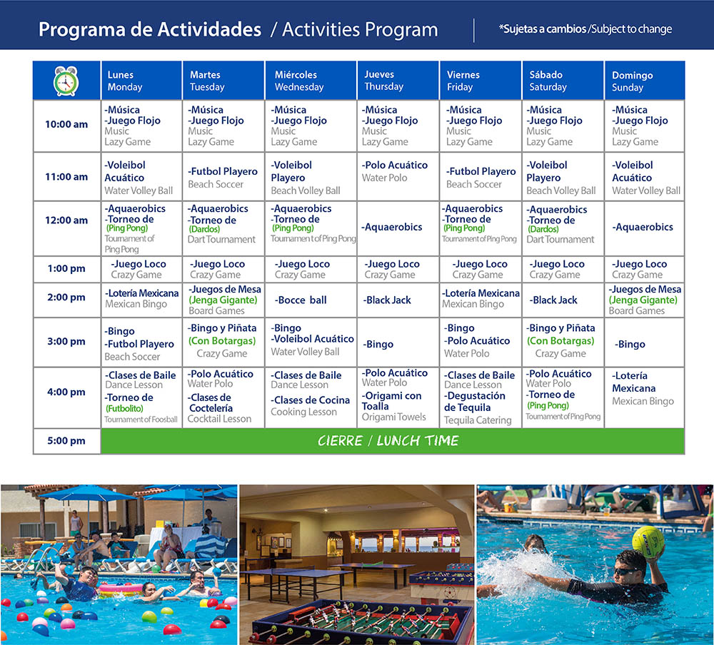 Activities Program Playa Mazatlan Beach Hotel