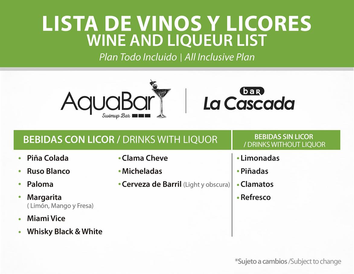 Vinos y Licores Aqua Bar y Bar La Cascada Julio 2020 Hotel Playa Mazatlán