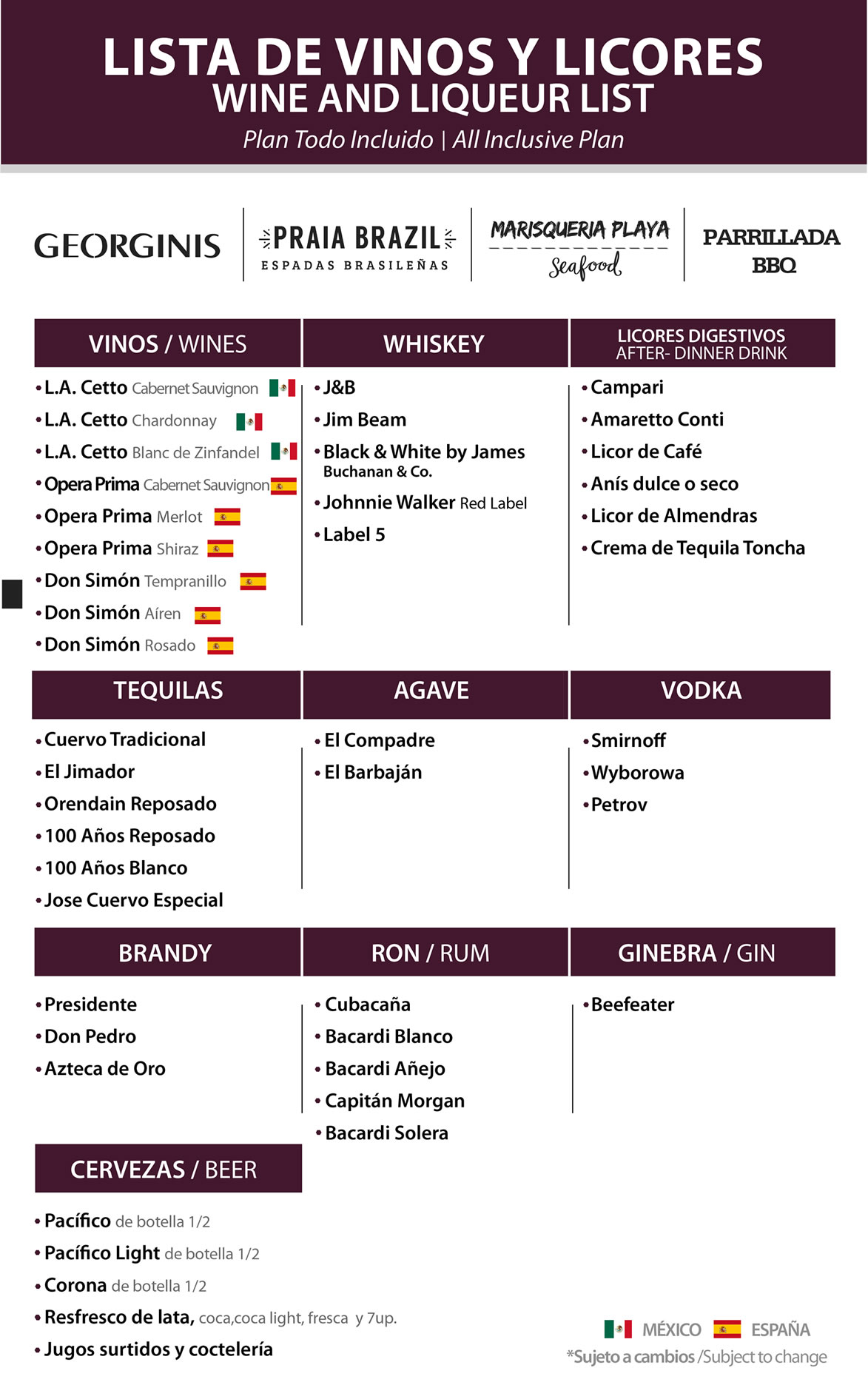 Wine and Liqueur list All Inclusive Plan Restaurant Georgini's