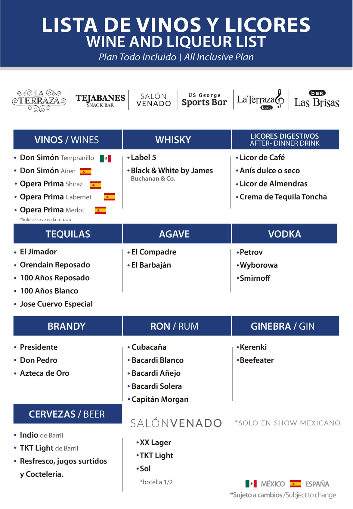 Wine and Liqueur list All Inclusive Plan