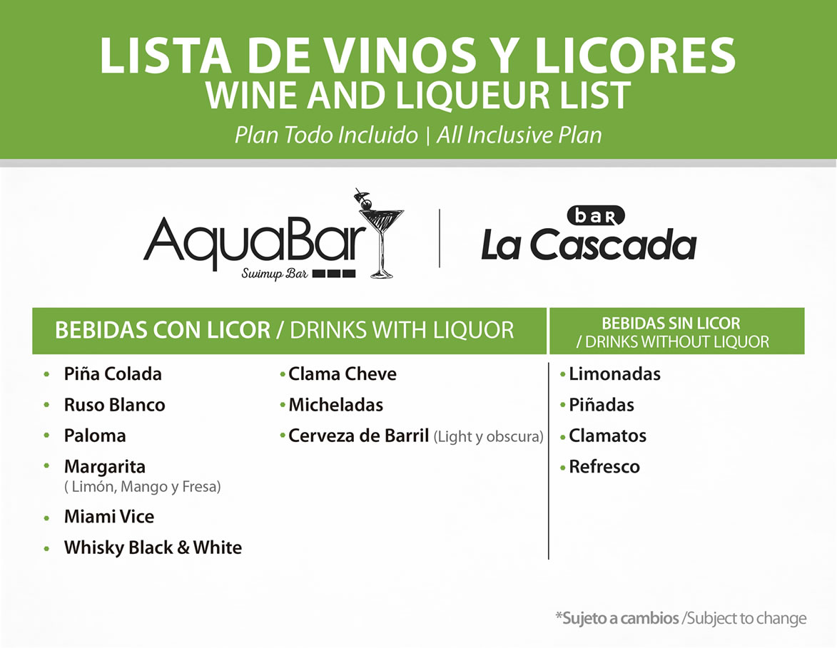 Wine and Liqueur list Pool Bar All Inclusive Plan