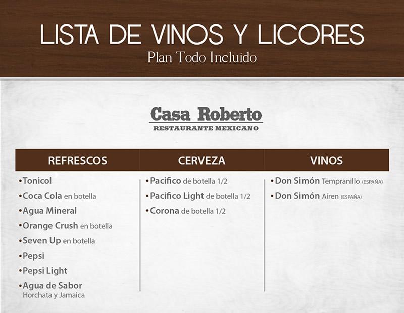 Vinos y Licores Todo Incluido Restaurant Casa Roberto
