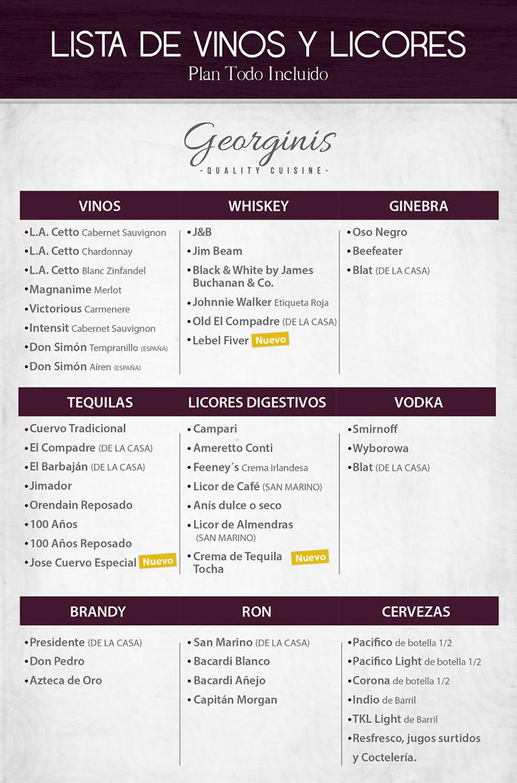Vinos y Licores Todo Incluido Restaurant Georginis