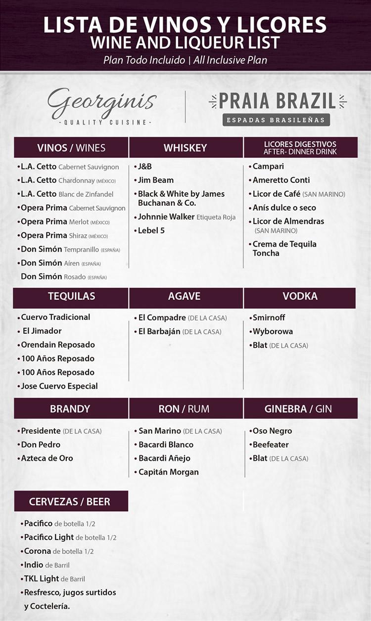 Wine and Liqueur list All Inclusive Plan Restaurant Georgini's