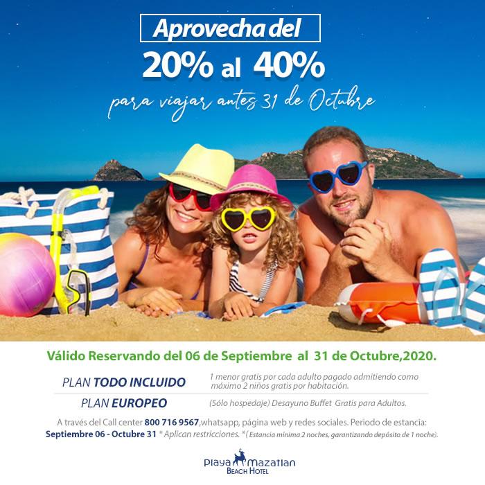 Aprovecha hasta un 40 de descuento en Hotel Playa Mazatlán