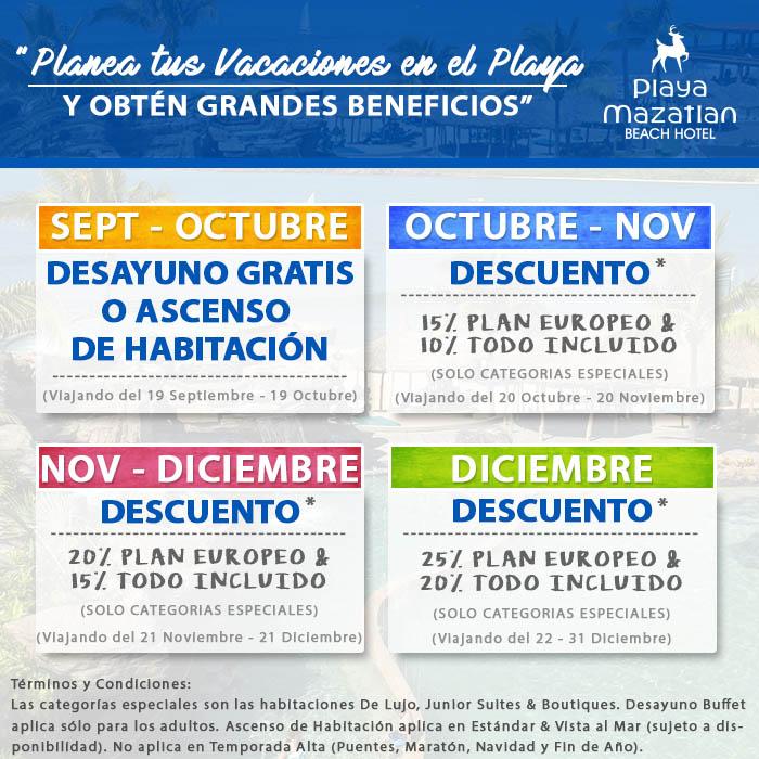 Ofertas y Promociones Especiales de Hotel Playa Mazatlán