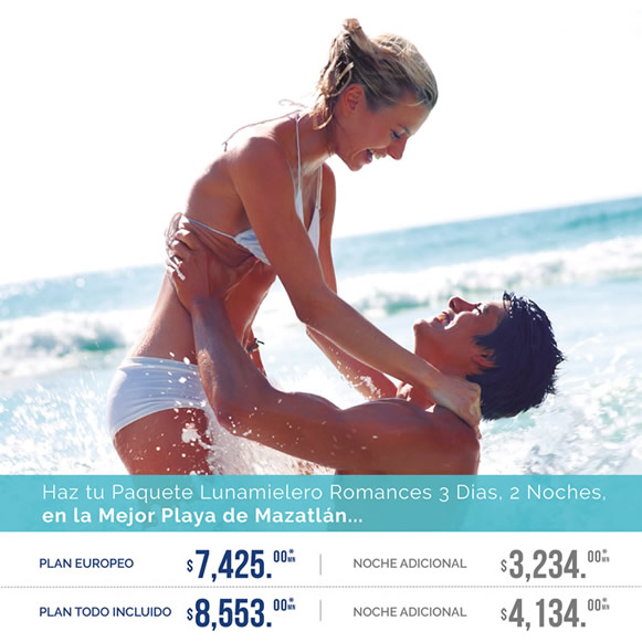 Paquete Lunamielero Romance Hotel Playa Mazatlán
