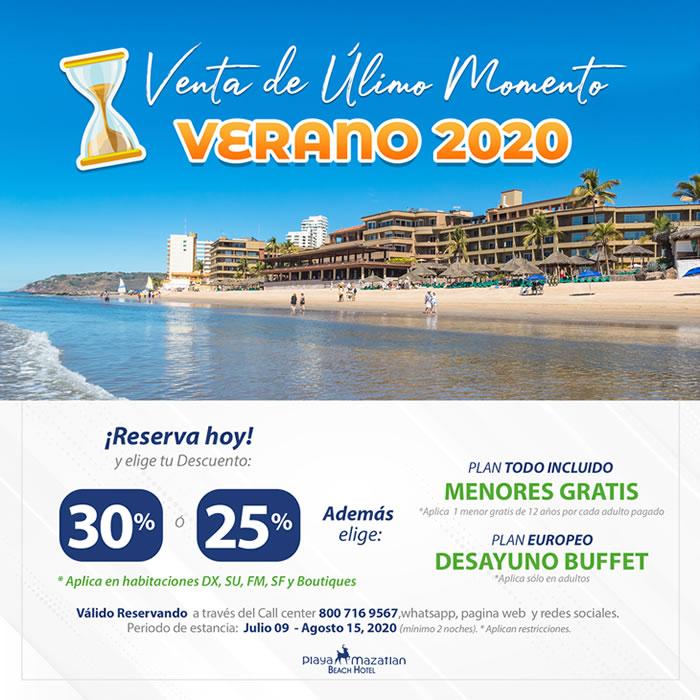 Promoción de Verano 2020 en Hotel Playa Mazatlán