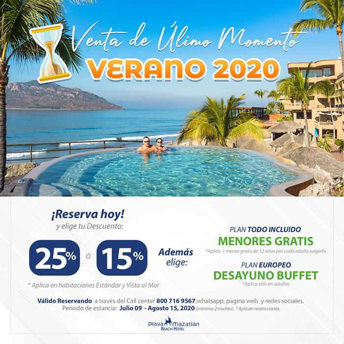 Promoción de Verano 2020 hasta 25 de descuento en Hotel Playa Mazatlán