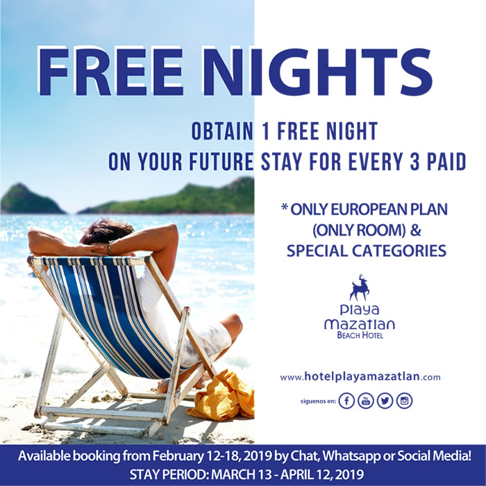 Free Nights on your Future Stay Hotel Playa Mazatlan