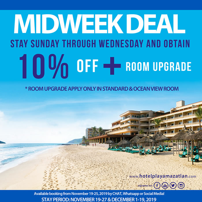 Midweek Deal Get up to 10 Off and Room Upgrade Hotel Playa Mazatlan