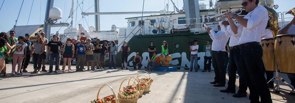 The vessel Greenpeace's Rainbow Warrior arrived in Mazatlan