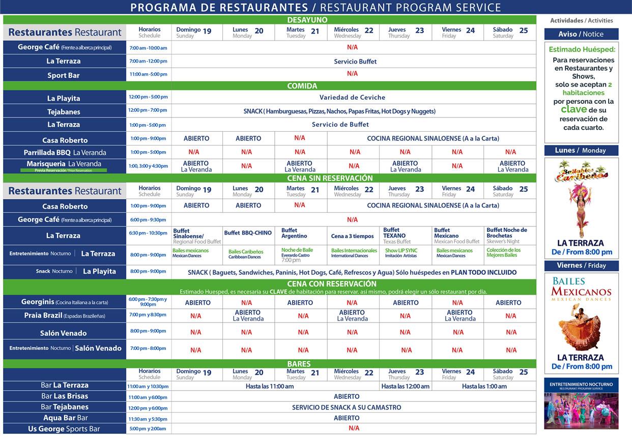 Programa de Restaurantes de Hotel Playa Mazatlán del 19-25 de Julio 2020