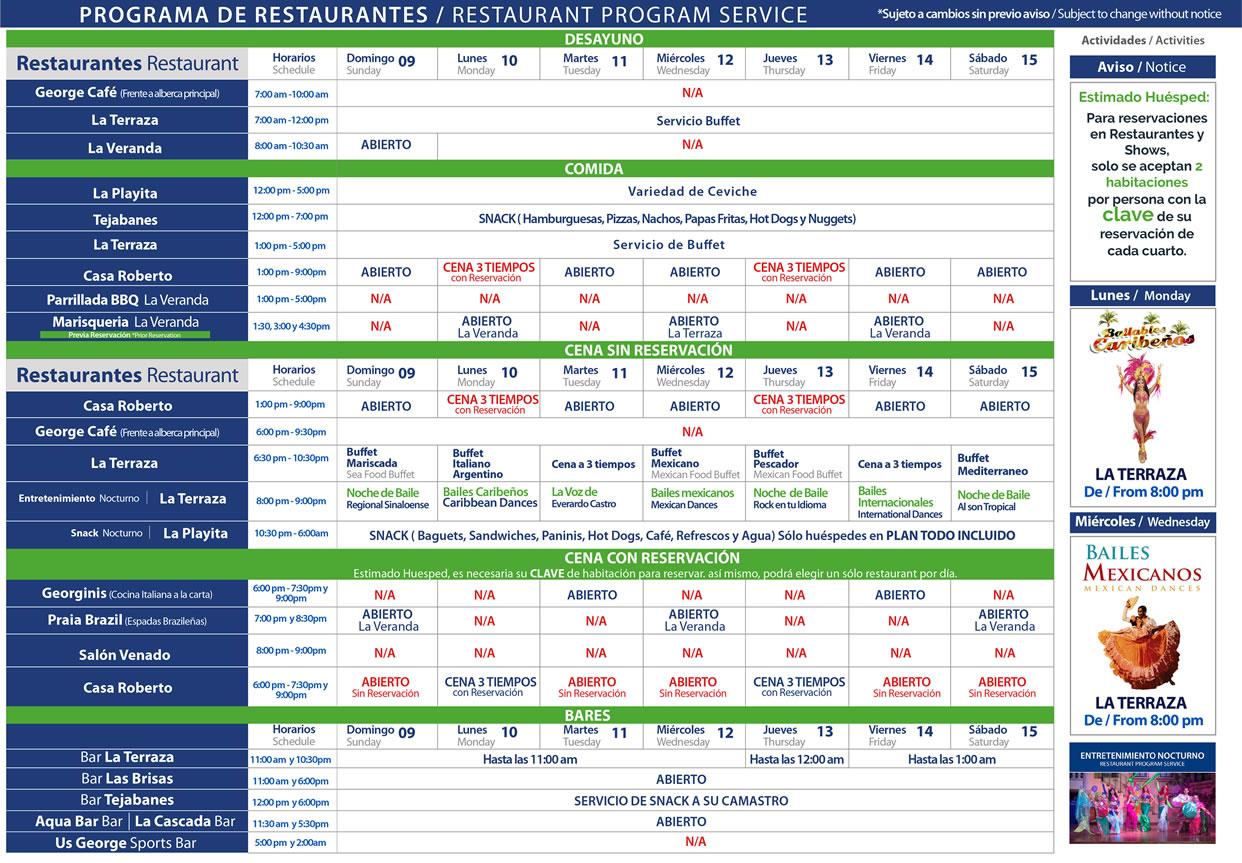 Programa de Restaurantes de Hotel Playa Mazatlán del 9-15 de Agosto 2020