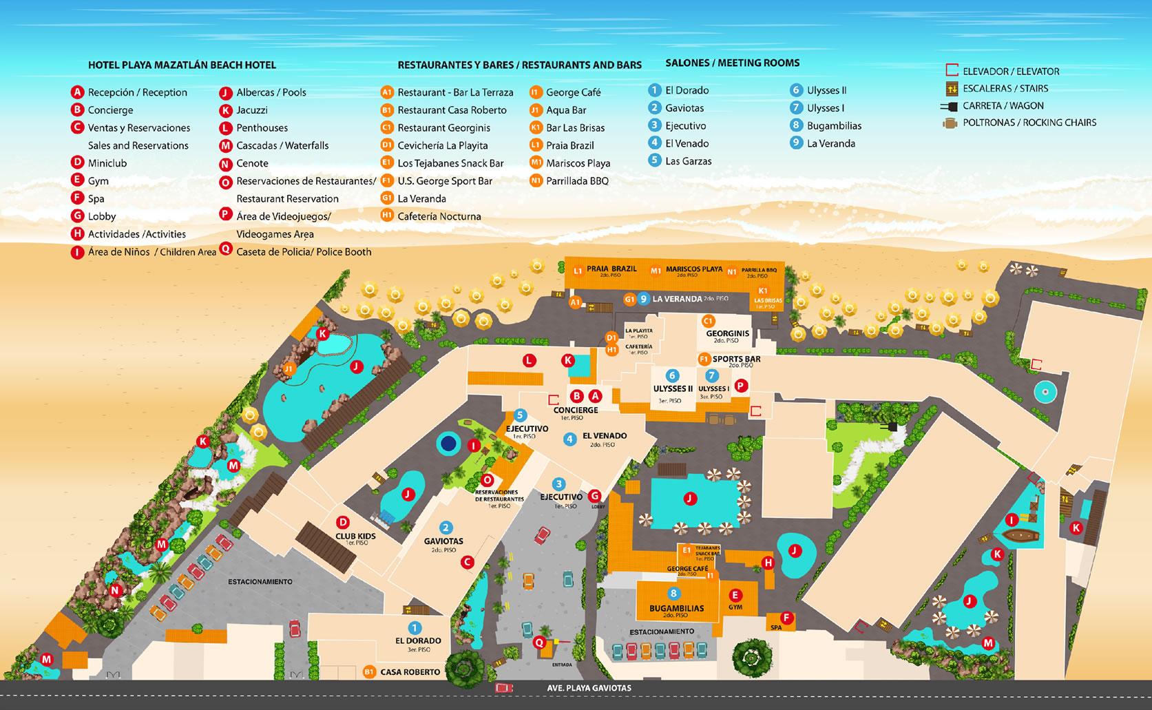 Mapa de Hotel Playa Mazatlán