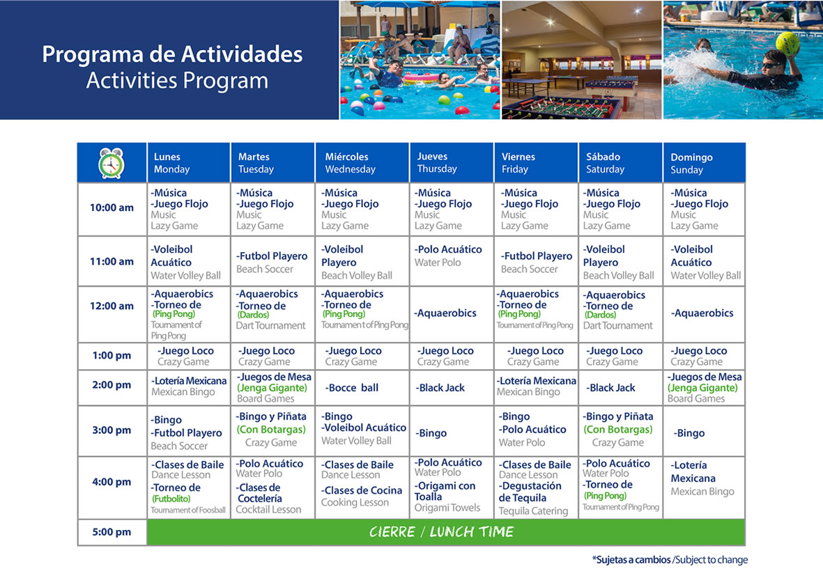 Activities Program Hotel Playa Mazatlan