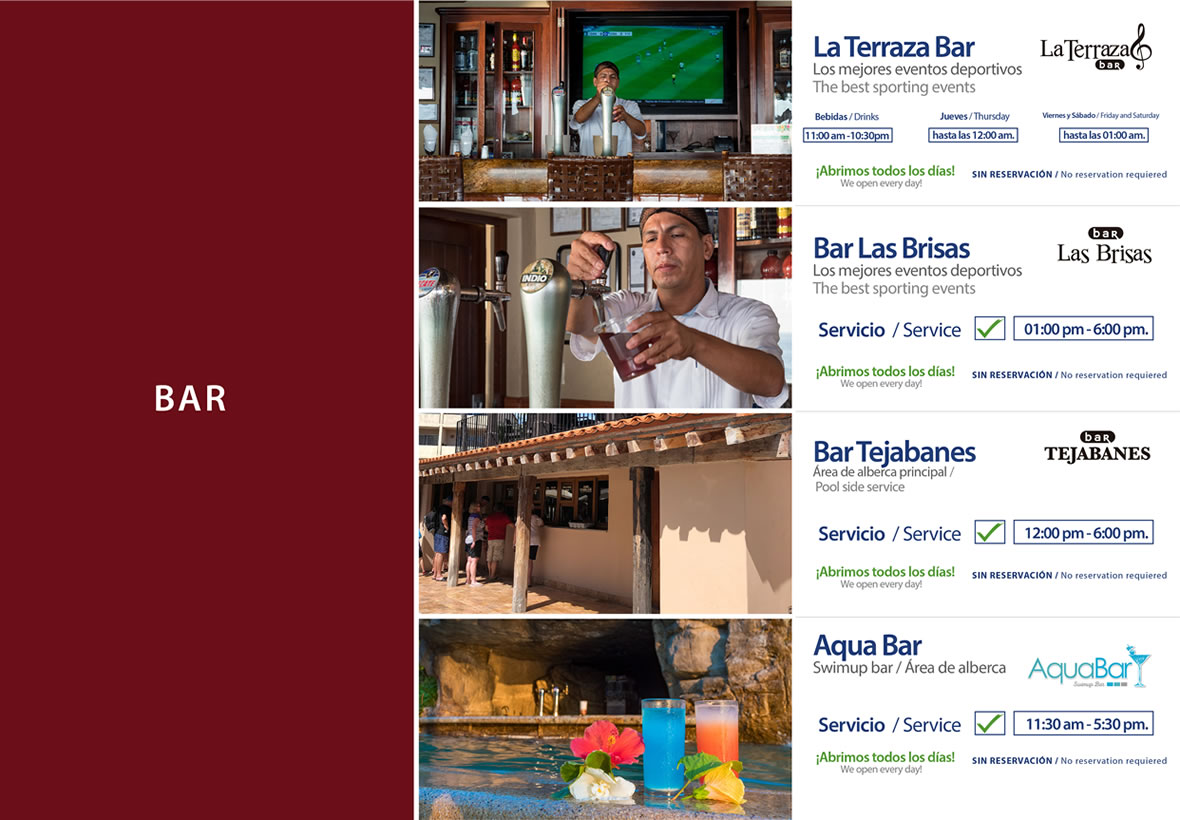 Bars Hotel Playa Mazatlan Sunday 22 to Saturday 28 March 2020