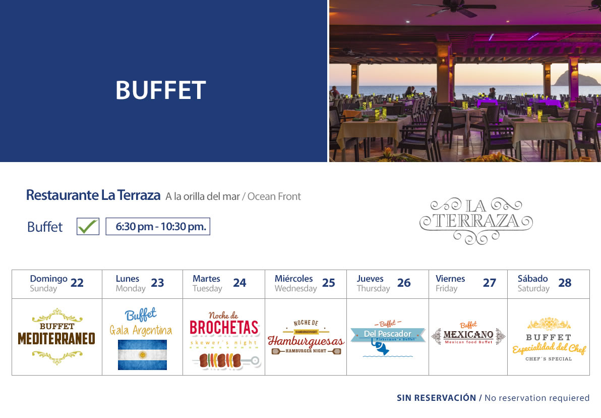 Buffet at La Terraza Restaurant Sunday 22 to Saturday 28 March 2020