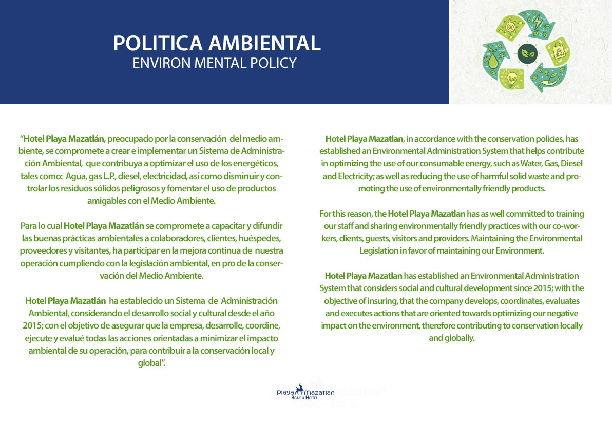 Environmental Policy Hotel Playa Mazatlan