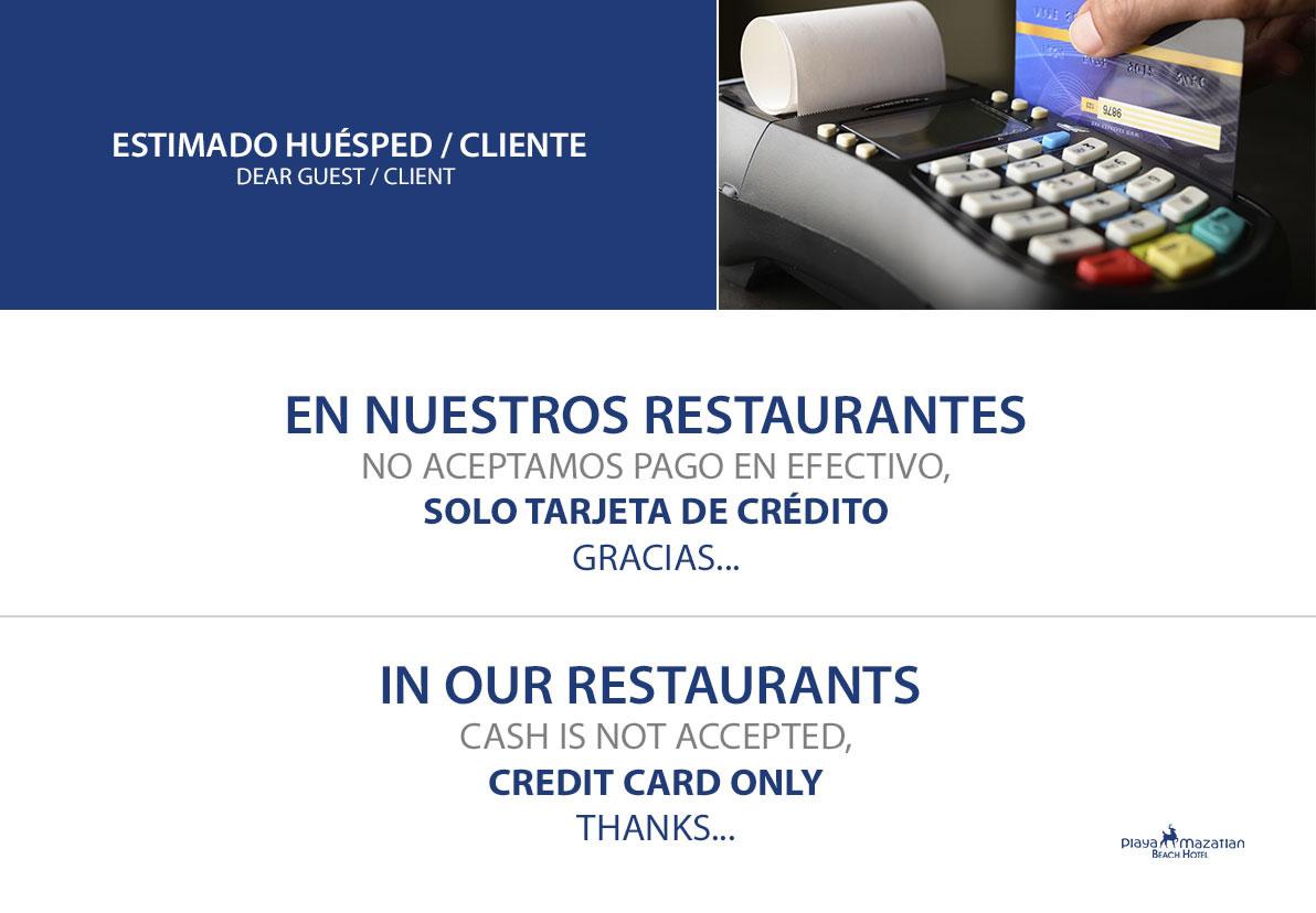Formas de Pago en Restaurantes de Hotel Playa Mazatlán
