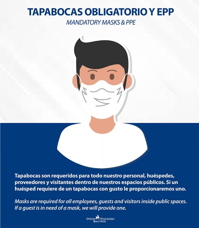 Mandatory Masks and PPE Hotel Playa Mazatlan