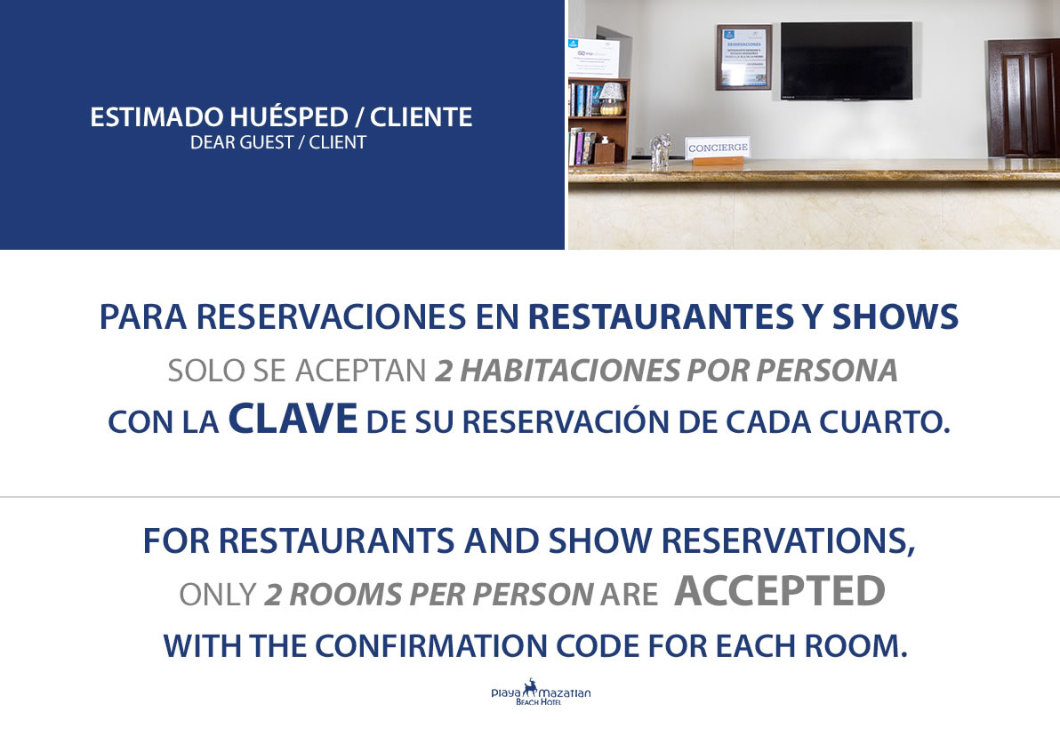 Restaurants and Shows Reservations Hotel Playa Mazatlan