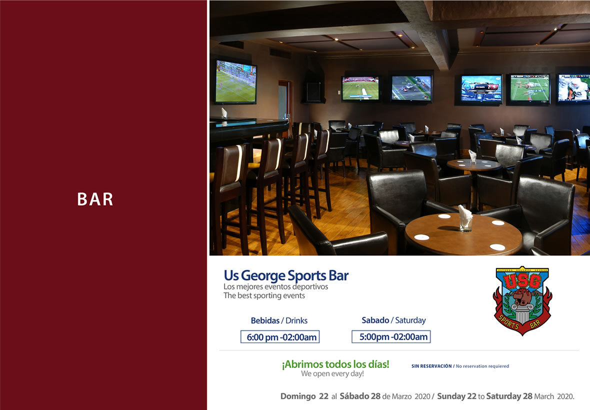 USG Sport Bar Sunday 22 to Saturday 28 March 2020