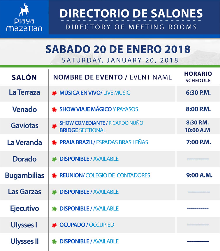 Directory of Meeting Rooms Saturday 20 January 2018