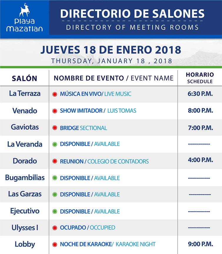 Directory of Meeting Rooms Thursday 18 January 2018