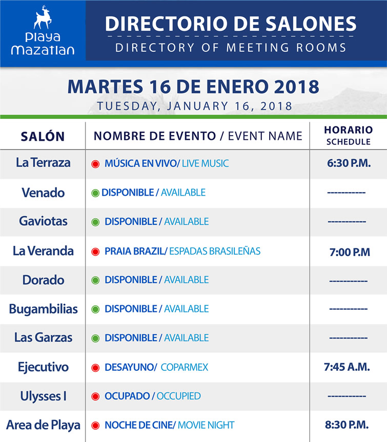 Directory of Meeting Rooms Tuesday 16 January 2018