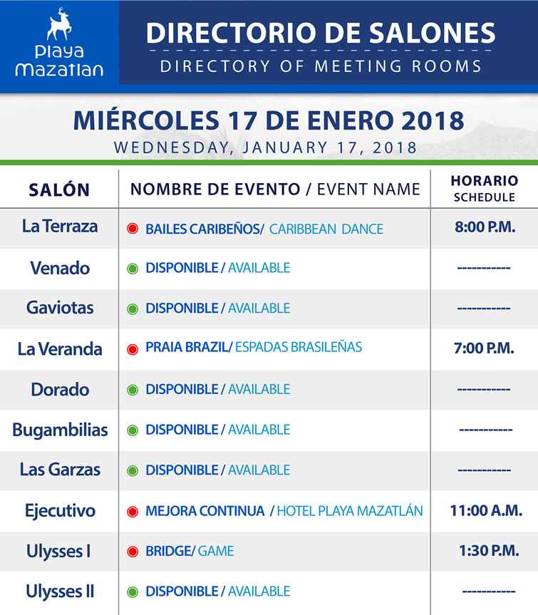 Directory of Meeting Rooms Wednesday 17 January 2018