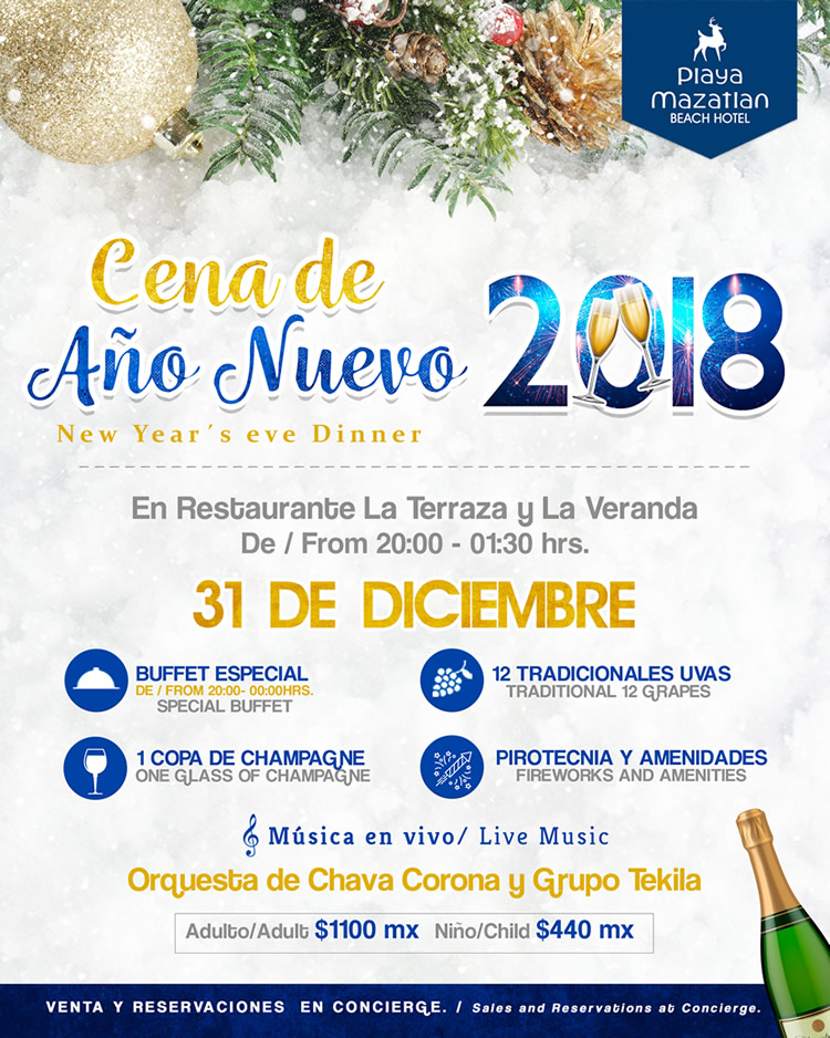 New Years Eve Dinner 2018 Playa Mazatlan Beach Hotel