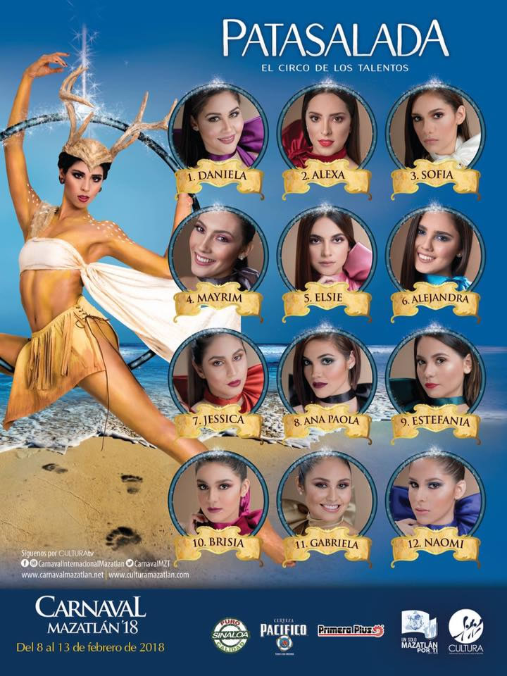 Candidates for the Carnaval Queen Mazatlan 2018