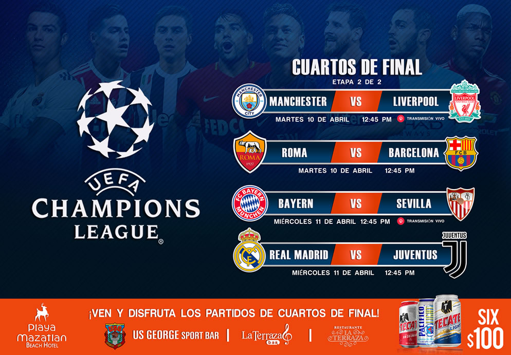 Cuartos de final champions league hotel playa mazatlan for Cuartos de final champions