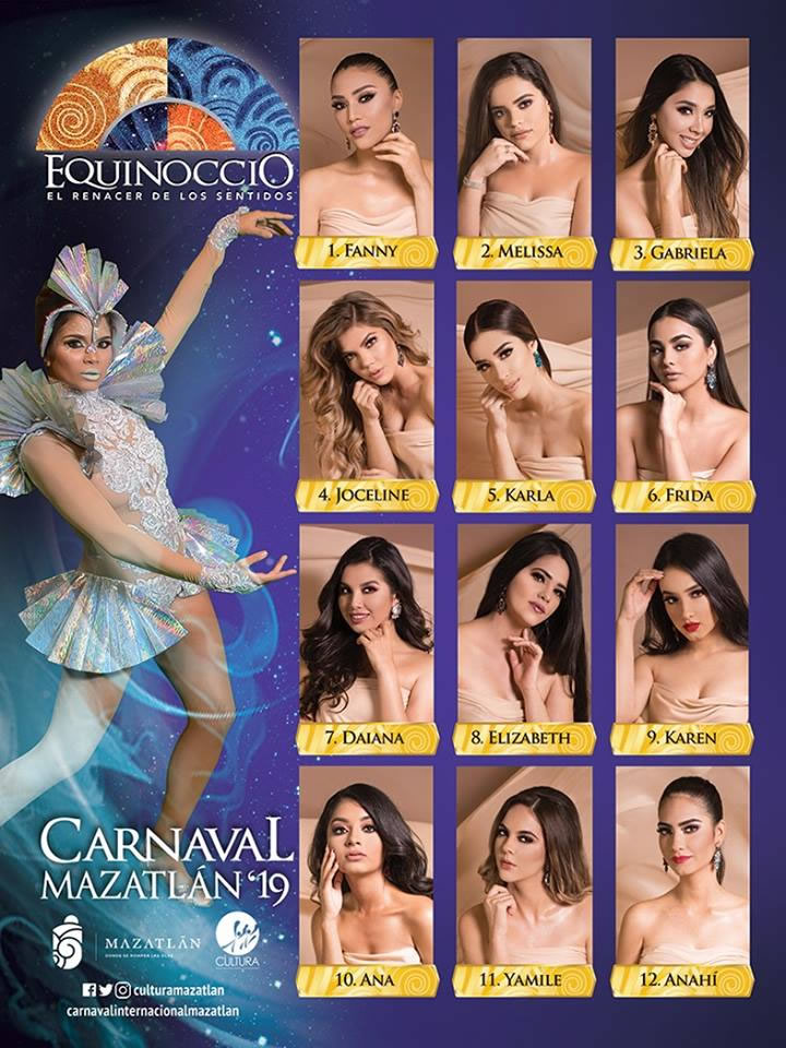 Candidates for the Carnival Queen and Queen of the Floral Games Mazatlan Carnival 2019