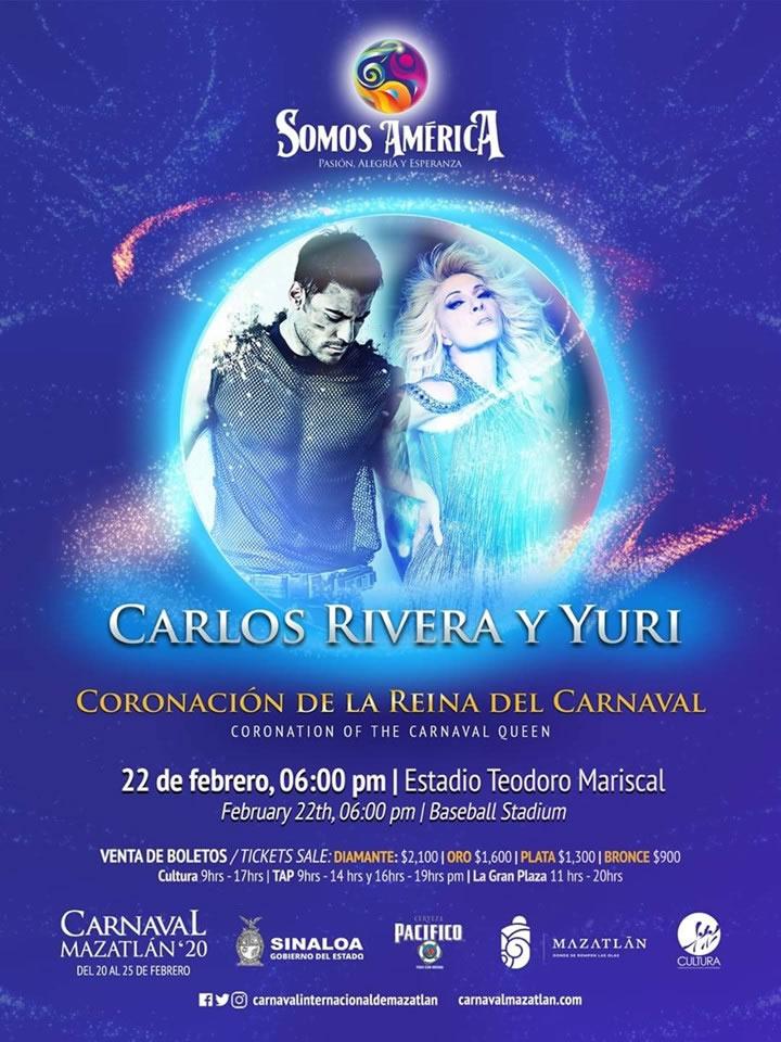 Carlos Rivera y Yuri en la Coronación de la Reina del Carnaval de Mazatlán 2020