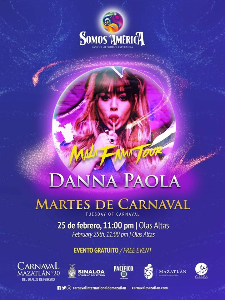 Danna Paola en Olas Altas Carnaval de Mazatlán 2020