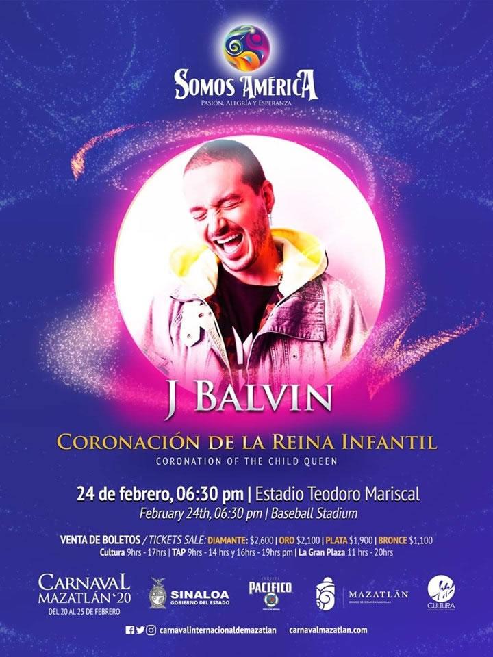 J Balvin en la Coronación de la Reina Infantil del Carnaval de Mazatlán 2020