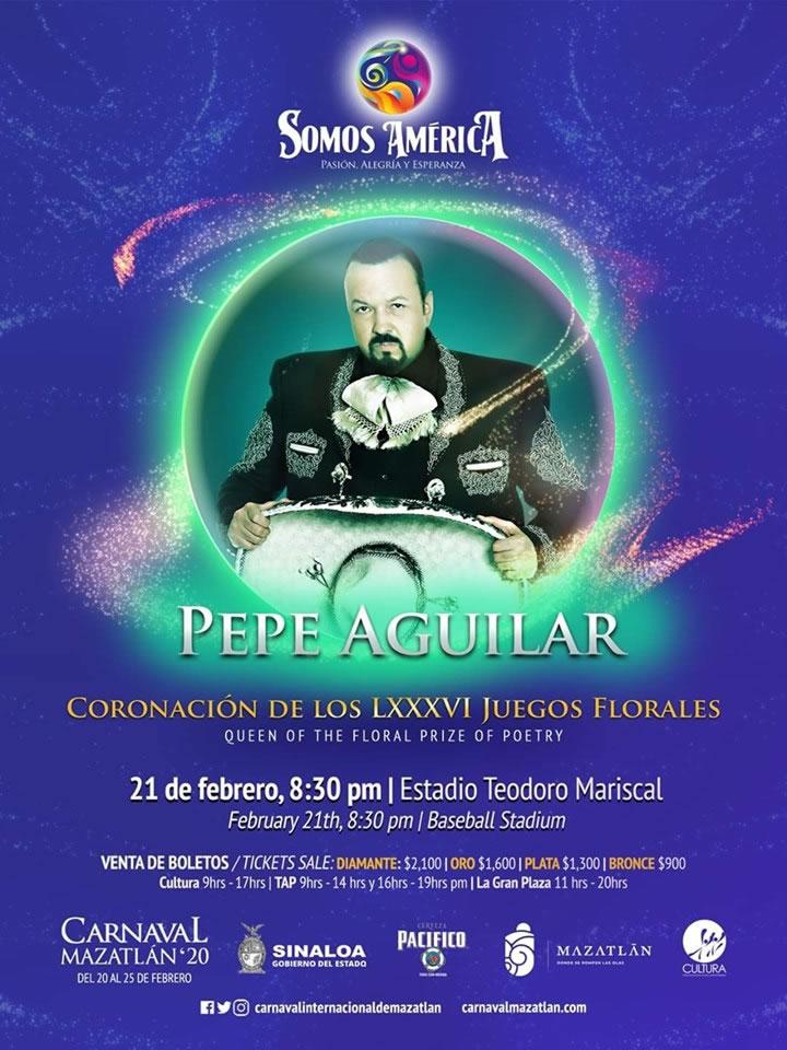 Pepe Aguilar en la Coronación de la Reina de los Juegos Florales del Carnaval de Mazatlán 2020