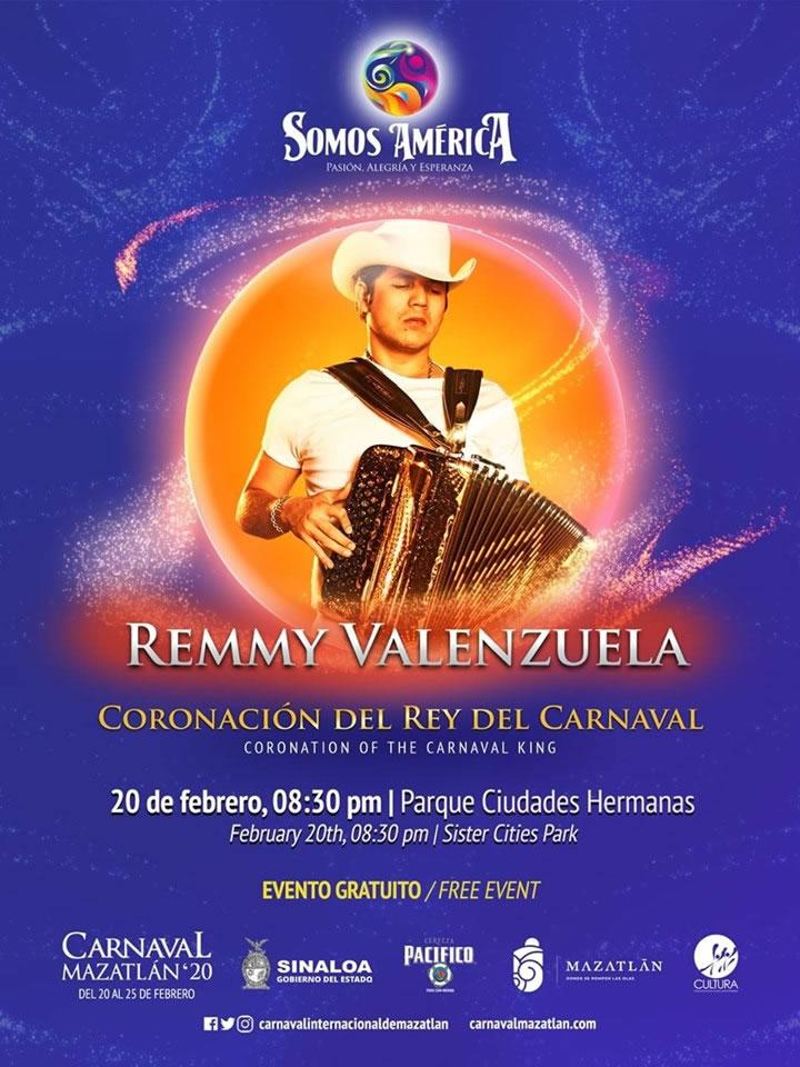 Remmy Valenzuela en la Coronación del Rey de la Alegría Carnaval de Mazatlán 2020