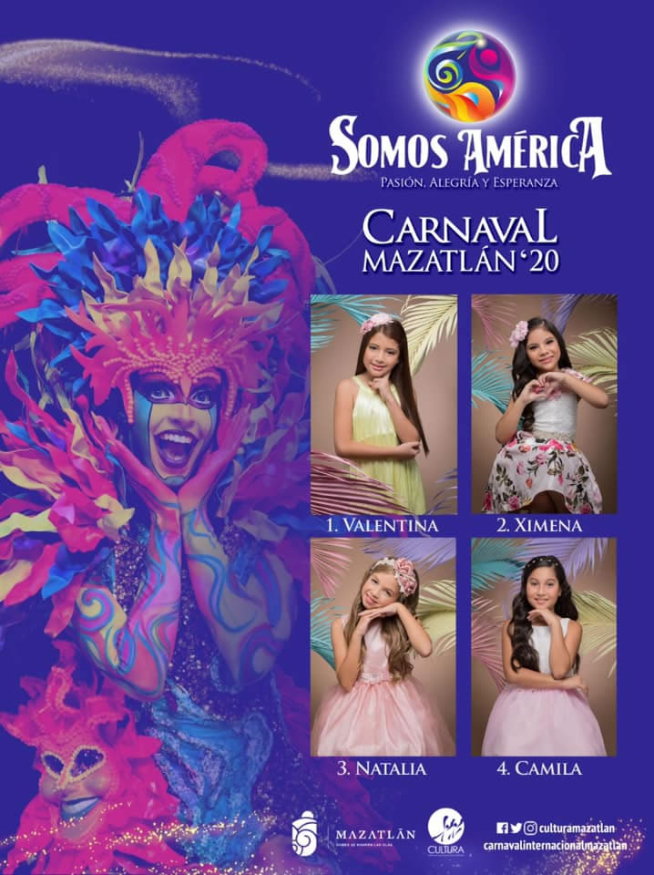 Candidates for Children's Queen of the Mazatlan Carnival 2020