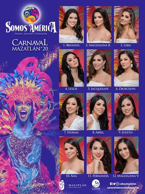 Candidates for Queen of the Mazatlan Carnival 2020