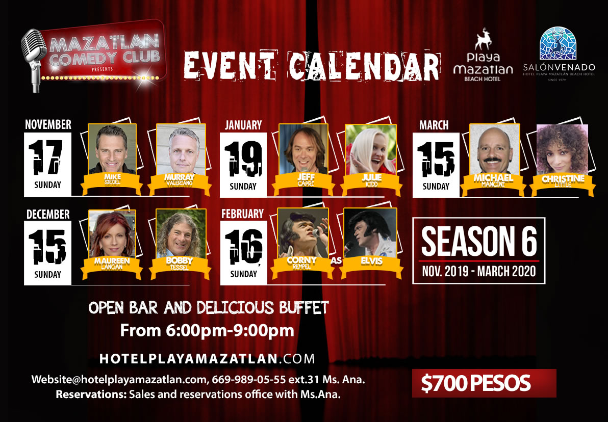 Event Calendar Mazatlan Comedy Club Season 6