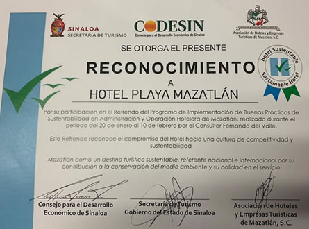 Hotel Playa Mazatlan receives recognition as a Sustainable Hotel