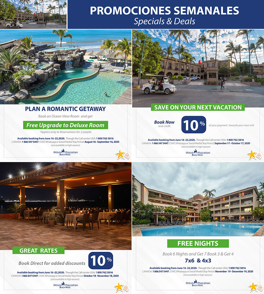 Weekly Promotions June 16-22 Hotel Playa Mazatlan