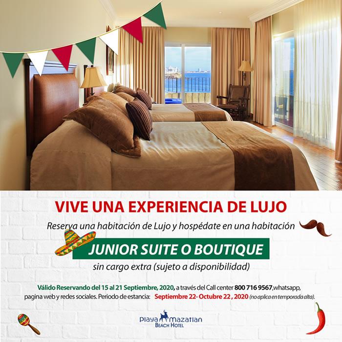 Ascenso Gratis a Junior Suite o Boutique Hotel Playa Mazatlán