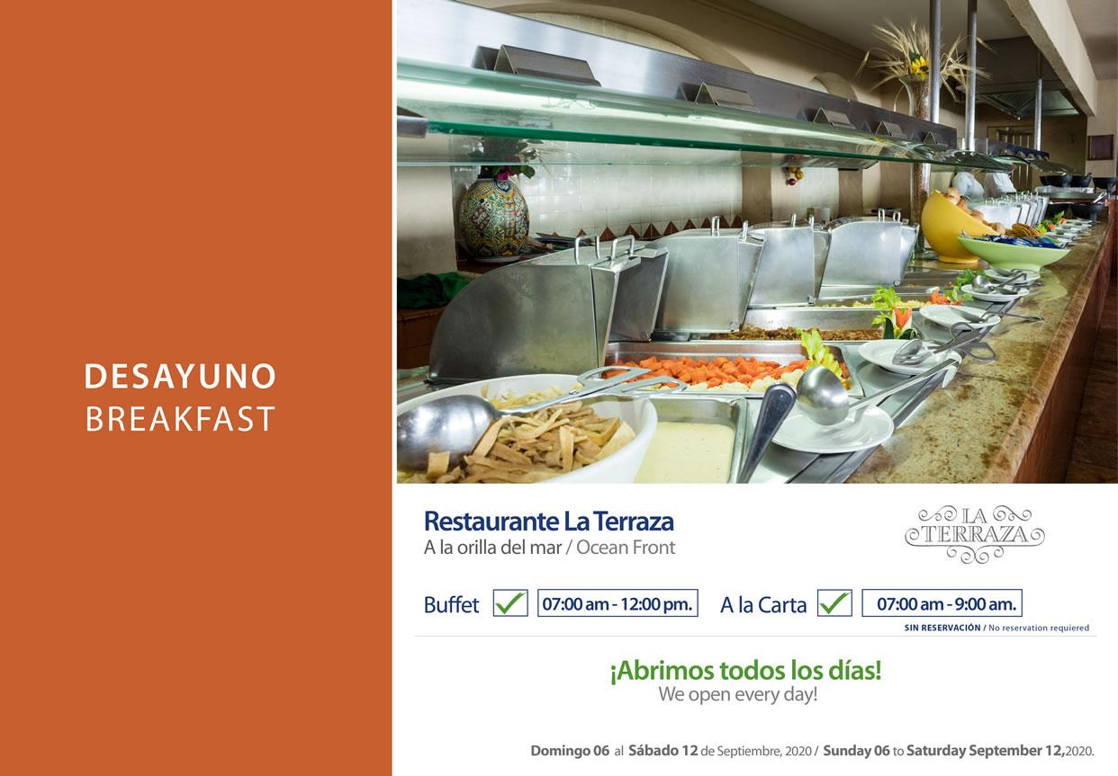 Breakfast Restaurant La Terraza 6-12 September 2020
