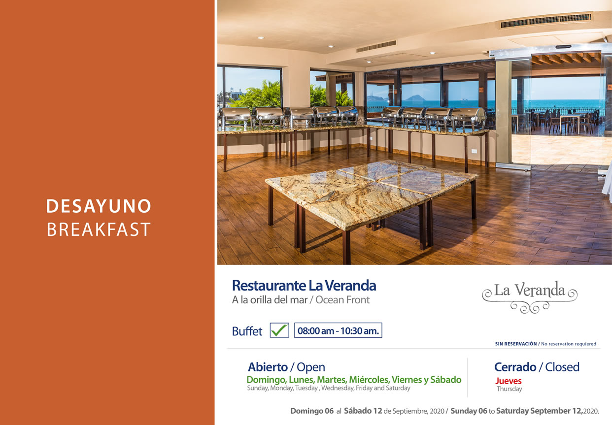 Breakfast Restaurant La Veranda 6-12 September 2020
