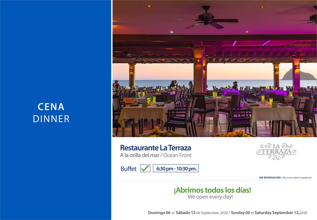 Dinner Restaurant La Terraza 6-12 September 2020